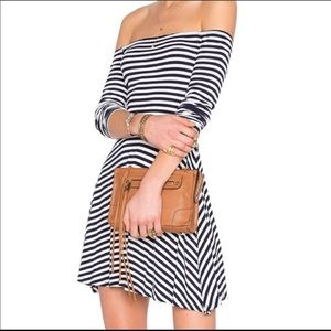Lovers and Friends striped off the shoulder mini